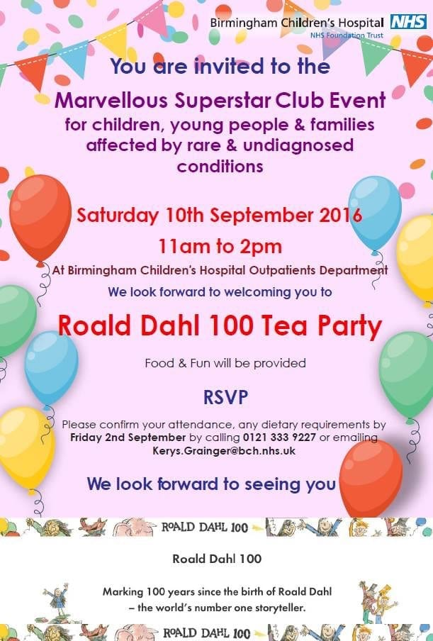 Roald Dahl 100 Tea Party