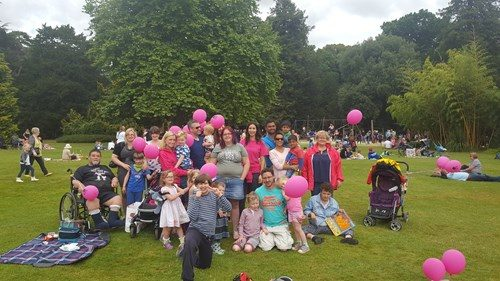 Image shows a group of families in the park with pink balloons