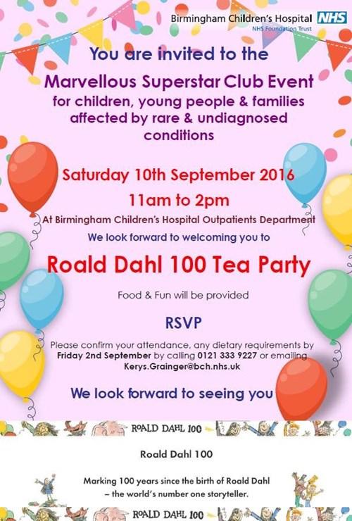 Roald Dahl 100 Tea Party