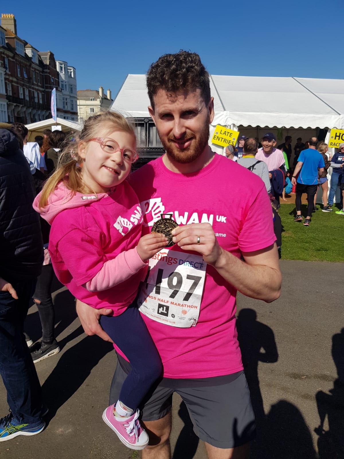Adam and Millie run the Hastings Half Marathon